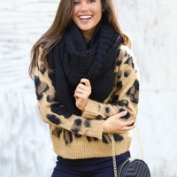 By The Fire Infinity Scarf in Black | Monday Dress Boutique
