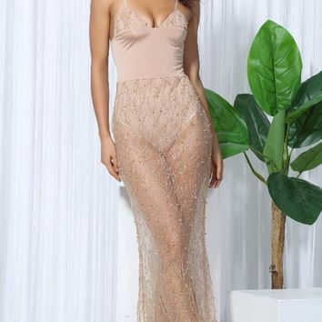See Through Me Gold Nude Beaded Sleeveless Spaghetti Strap V Neck Sheer Mesh Maxi Dress