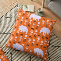'White bears and happy flowers' Floor Pillow by cocodes