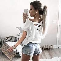 Summer Sexy Women Top Tees Solid Color  Back Bandage Cross Off Shoulder Loose Style Casual Ladies T Shirt B6374Y