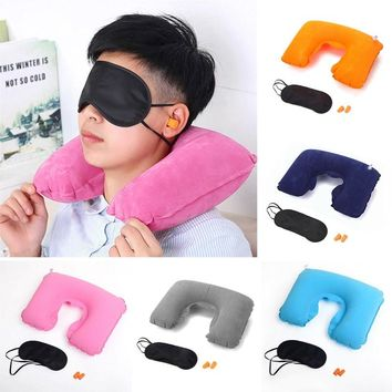 Travel Pillow Blindfold Earplugs Set Inflatable Neck Support Travel Pillow Airplane Comfortable U-Shaped Travel Pillow Cushion