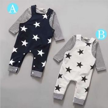 Retail 2016New 2pcs Long sleeve + suspenders baby boy girl clothes cotton100% Autumn long sleeve straps star infant boy clothing