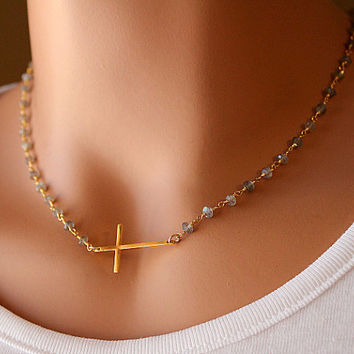 Moonstone Sideways Cross Necklace, Gold Vermeil Cross, Rosary Style, Wire Wrapped necklace, White Gemstone