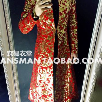S-5XL! 2017 New Men's fashion GD Totem embroidery long umbrella type jacket performance coat Costume singer costumes clothing