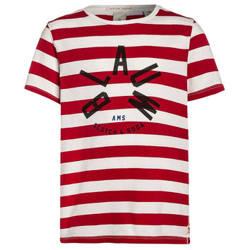 Scotch & Soda Boys Red and White Striped T-shirt
