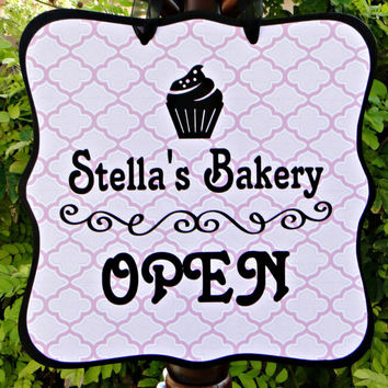 Bakery Open Sign & Closed Sign (Double Sided) - Great for Cupcake or Pastry Shops!