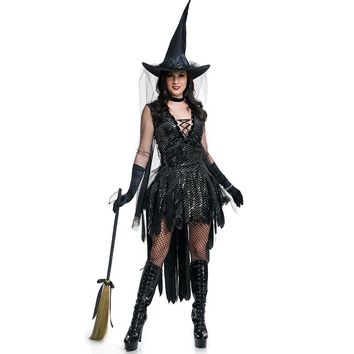 Witch  Women  Black  Magic  Moment  Costume  Halloween