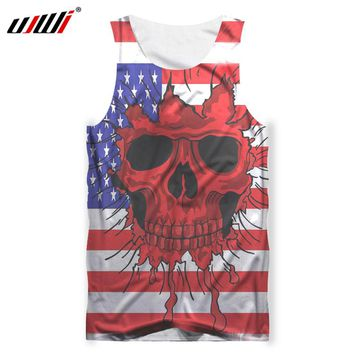 Men Tank Tops 3d Print US Flag Skull Tank top Male Bodybuilding Out Wear Shirt Sleeveless Vest
