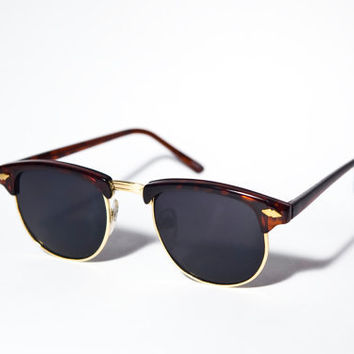 1980s Vintage Deadstock Brown and Gold Clubmaster Sunglasses A2