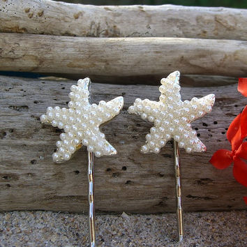Beach Wedding Pearl Starfish Bobby Pins-SET OF 2-Bridal Hair Pins, Beach Bride, Mermaids, Starfish Hair, Vegan Friendly, Destination Wedding