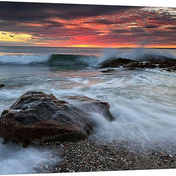 Beach Canvas Gallery Wrap Waves Surf Coastal Rhode Island Sakonnet Little Compton Sunset Rocks Pink Yellow Orange Blue Large Canvas Wall Art
