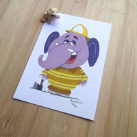 Elephant fire fighter postcard, Gouache animal illustration, Cartoon snail mail