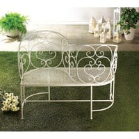 Romantic White Metal Couples Bench