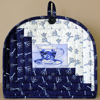 Blue Teapot Cozy - Quilted Tea Cosy - Log Cabin Teapot Cozy - Winter Teapot Warmer - Insulated Teapot Cozy