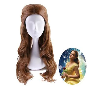 Beauty and the Beast Princess Belle wig Cosplay Costume Women Long Wavy Synthetic Hair Halloween Party Role Play wigs +Wig Cap