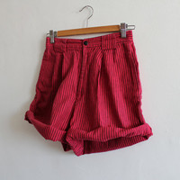 Vintage 80s Striped Red High Wasit shorts