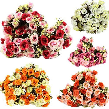 2015 Fashion New 15 Heads Artificial Rose Silk Fake Flower Leaf Home Wedding Decor Bridal Bouquet  63JA Christmas  Gift  6LDQ