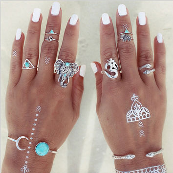 8PCS Vintage Beach Punk Elephant Moon Arrow Ring Set Ethnic Carved Antique Silver Plated Snake Finger Ring Knuckle Charm 3373