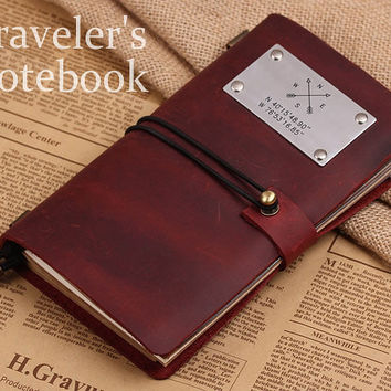 Vintage Handmade Refillable Leather Traveler's Notebook - Custom Compass Coordinates Journal Notebook