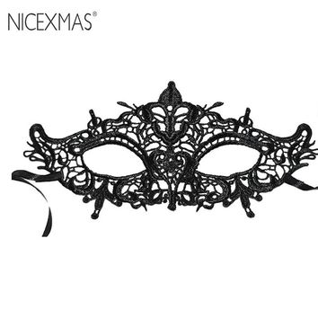NICEXMAS Exquisite High-End Women Queen Mask Lace Hollow Flower Party Mask Eye Masquerade Mask Halloween Dance Stereotype Eyecup