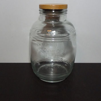 Vintage Large Cracker Barrel Clear Glass Jar/Canister with Wooden Lid (Lid not Original to Jar) - 4 Quart - Rustic/Farmhouse Style