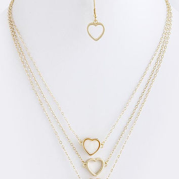 Triple Heart Charm Necklace
