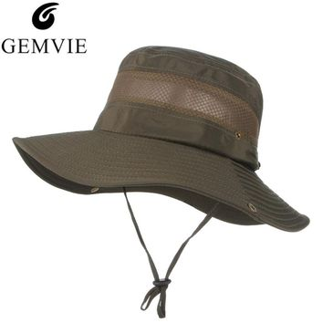 Fashion Summer Bucket Hats For Men Mesh Patchwork Breathable Boonie Hats Military Camping Outdoor Hiking Sun Caps