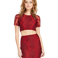 Red Mesh Paisley Embroidered Crop Top