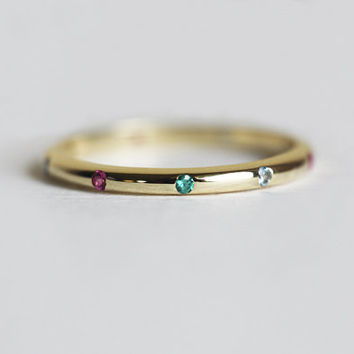 Gold Emerald Band, Gold Ruby Band, Thin Birthstone Band, Gemstone Ring, Thin Eternity Ring, 14k solid gold