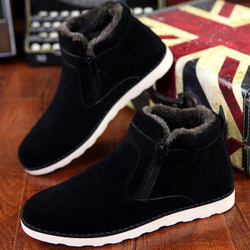 Size 37-45 Autumn winter men warm snow boots Casual with short plush ankle boots Height Increasing rubber zip men shoes Z194