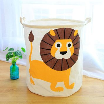 Creative Animal Handbag Baby Kids Waterproof Toy Clothes Canvas Laundry Basket Storage Bag With Leather Handles Room Decor
