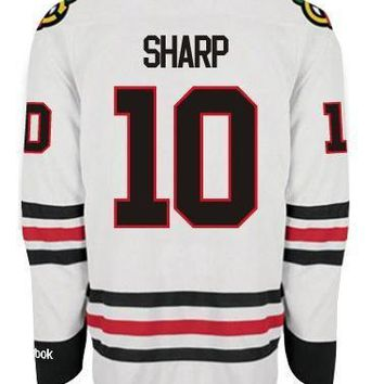 Chicago Blackhawks Mens Patrick Sharp Premier Road Jersey with DOUBLE LAYERED PRO TACKLE-TWILL LETTERING