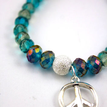 "Peace & Crystal Bracelet, Yoga Inspired: Genuine ""Aqua Borealis"" AA Crystal and Silver Plated Peace Sign Pendant with Swarovski Accent"