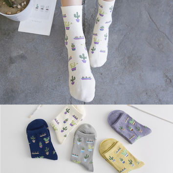 Women Happy Cactus Socks Autumn Winter Forest Plant Cotton White Cute Girl Christmas Socks Planta Pflanze Calcetines Mori Sox