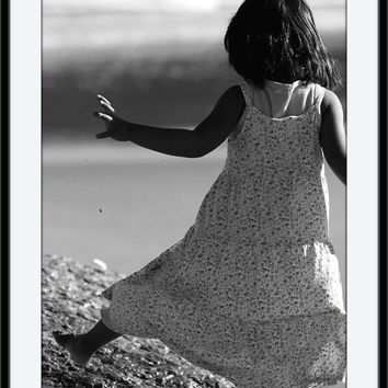 SALE Enjoy the Moment, Children Wall Print, Inspirational, Black and White, Sepia Photography