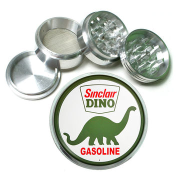 "Vintage Sinclair Dino Gasoline 4 Piece Silver Alumium Grinder 2.5"" Wide Gas and Oil Sign"