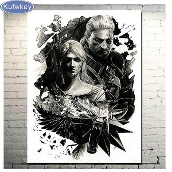 Full 5d diy diamond mosaic witcher 3 Wild Hunt Cross Stitch diamond painting embroidery beads patterns 3d picture of rhinestones