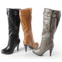 Brinley Co Womens Buckle Accent Mid-calf Boots
