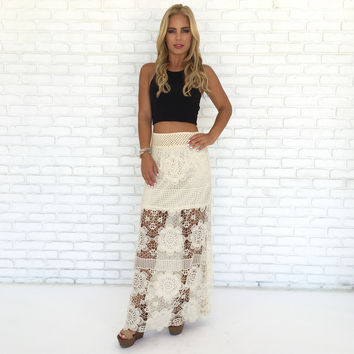 Dreaming Of Crochet Maxi Skirt In Ivory