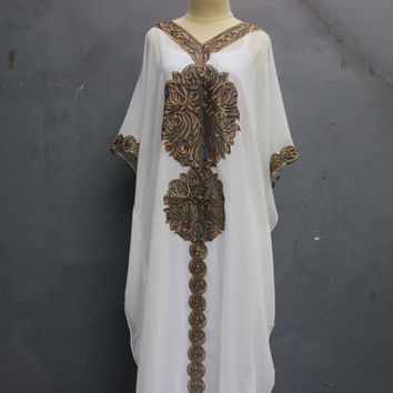 Sun Flower Caftan Dress, Beach Summer Party White Kaftan Embroidery Dress, Cute White Maxi Dress, Long Royal White Dress