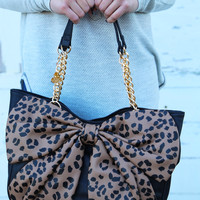 Betsey Johnson Bow Tails {Leopard} Satchel