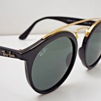 Authentic Ray-Ban RB 4256 601/71 Gatsby Round Black Green Large Sunglasses $190