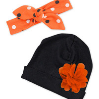 Black & Orange Floral Beanie & Dots Headband