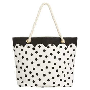 The Emily & Meritt Black/White Dot Rope Beach Tote