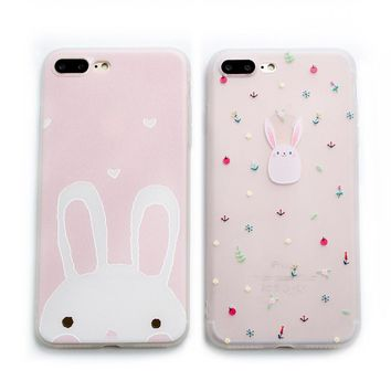 Hongmeng Korean cute 3D Relief rabbit frosted clear soft tpu phone Case cover for iphone 7 8 Plus 6 6s plus