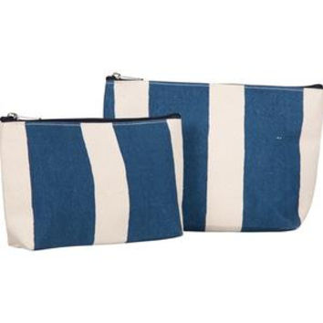 RockFlowerPaper Cabana Stripe Navy Cosmetic Bags Set of 2. Vegan Friendly.
