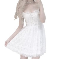 Summer luxury women dress Japanese Girl kawaii Dresses White sexy Lace Strapless Chest Cross Ribbon Bow Stra Plus Size Gown