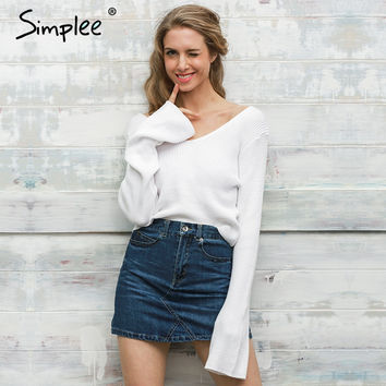 Simplee Sexy White short knitted sweater women Autumn winter flare sleeve pullover 2016 Fashion off shoulder jumper pull femme