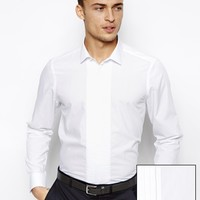ASOS Smart Tux Shirt In Long Sleeve With Pleated Placket