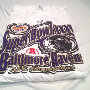 BRAND NEW RETRO BALTIMORE RAVENS SUPER BOWL XXXV AFC CHAMPIONS TEE SHIRT